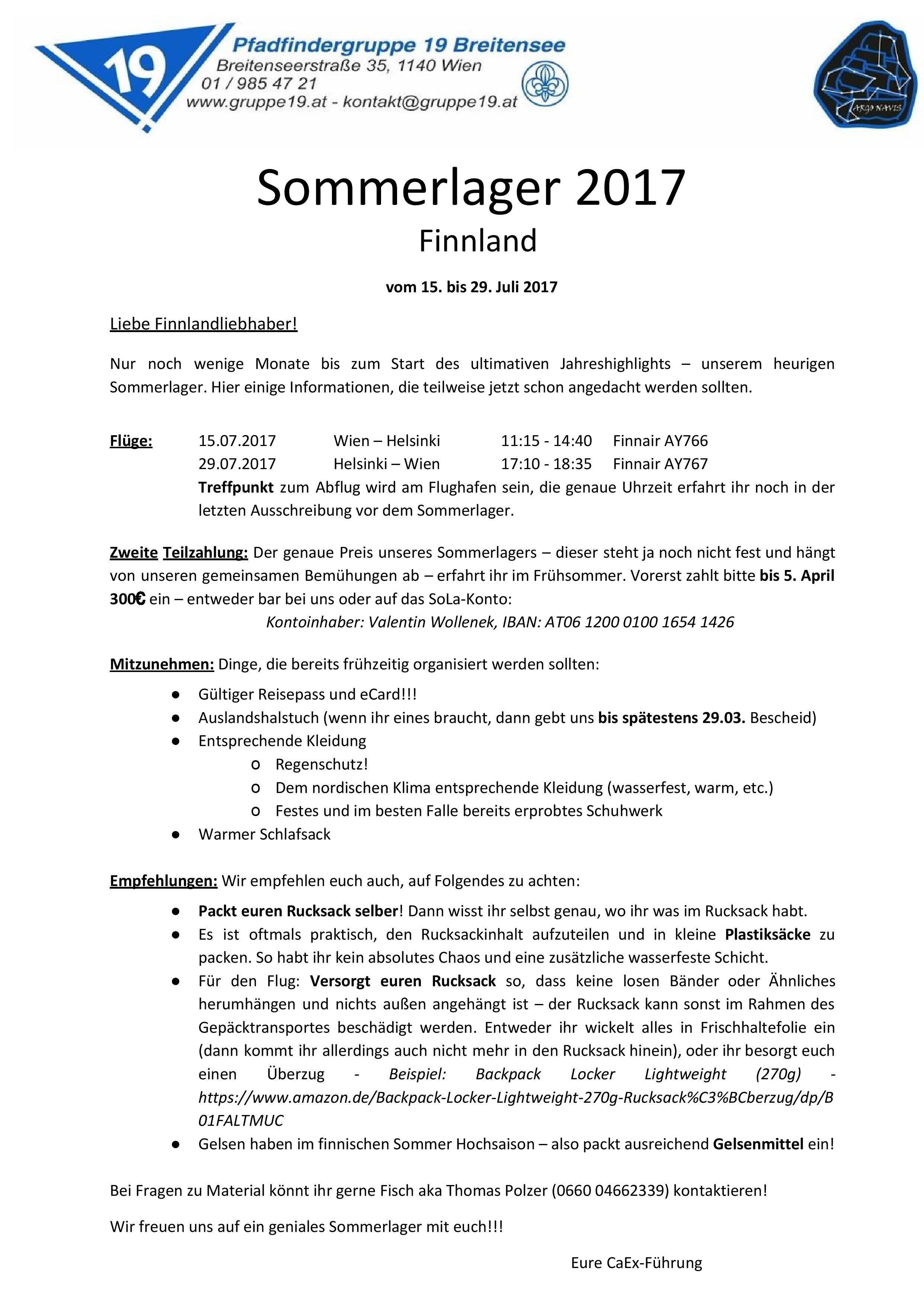 Zweitausschreibung Sola 2017